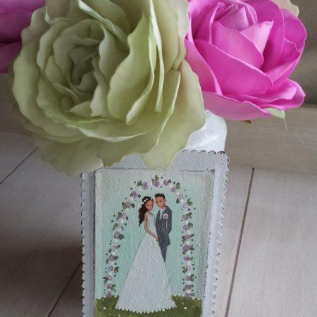 Poročni par (roza bela)
